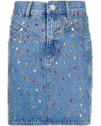 Sandro Jupe en jean Rubyn à ornements - Bleu