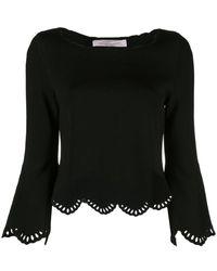Carolina Herrera Laser-cut Scalloped Sweater - Black