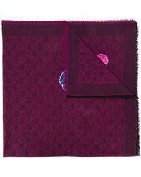 ESCADA Long Floral Scarf - Purple