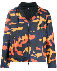 Valentino Camouflage-print Reversible Windbreaker - Blue