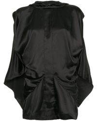 Moohong Draped Sleeveless Hood Top - Black