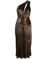 Saint Laurent Leopard-print One-shoulder Pleated Dress - Brown