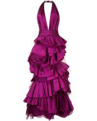 Marchesa オープンバック イブニングドレス - ピンク