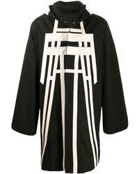 Rick Owens Manteau à capuche à bandes contrastantes - Noir