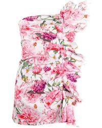Laneus Floral Print Mini Dress - White