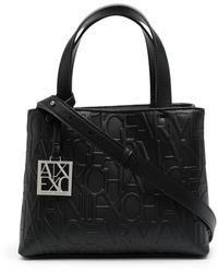 Armani Exchange エンボスロゴ ハンドバッグ - ブラック