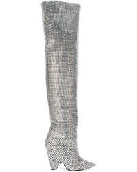 Saint Laurent Pointed Thigh High Boots - Metallic