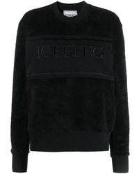 Iceberg Embroidered Logo Faux-fur Sweatshirt - Black