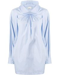 3.1 Phillip Lim オーバーサイズ ドレープカラーシャツ - ブルー