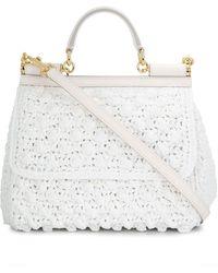 Dolce & Gabbana Sicily クロッシェバッグ M - ホワイト