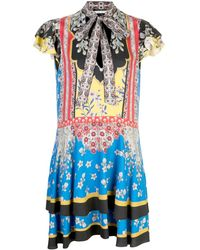 Alice + Olivia Moore Floral Tie-neck Flutter-sleeve Layered Tunic - Blue