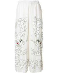 P.A.R.O.S.H. - Sequin Dragon Embroidered Wide Leg Trousers - Lyst