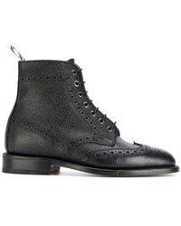 6a0c2cee5df Lyst - Burberry Prorsum Black Grain Leather Brooksmead Ankle Boots ...