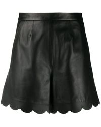 RED Valentino Scalloped-edge Leather Shorts - Black