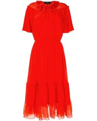 Rochas - Chiffon-panelled Crepe Dress - Lyst