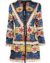 Caban Romantic Floral Open Front Jacket - Black