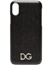 Dolce & Gabbana Coque d'iPhone X à plaque logo - Noir