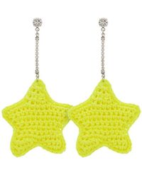 Venessa Arizaga - Neon Yellow Woven Star And Crystal Embellished Earrings - Lyst