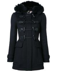 Burberry Manteau à capuche en fourrure - Noir
