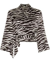 Ganni - Blakely Zebra Print Silk Wrap Top - Lyst
