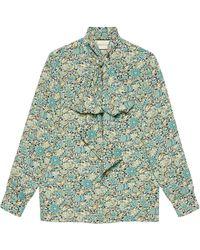 Gucci Блузка С Цветочным Принтом Из Коллаборации С Liberty London - Синий