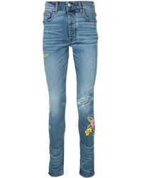 Amiri Floral Embroidered Skinny Jeans - Blue