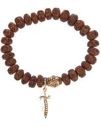 Loree Rodkin Carved Wood Beaded Diamond Bracelet - Brown