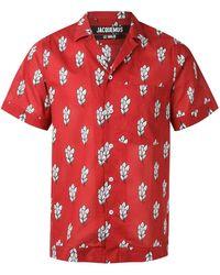 Jacquemus Camisa con motivo de hojas - Rojo