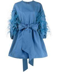 Valentino Расклешенное Платье С Перьями - Синий