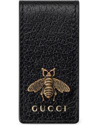 Gucci Bee Motif Money Clip Wallet - Black