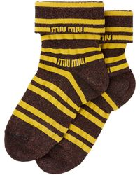 Miu Miu Logo Detail Socks - Brown