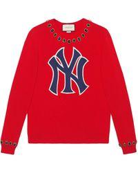 Gucci - Ny Yankeestm パッチ ウール セーター - Lyst