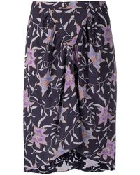 Étoile Isabel Marant Floral-print Gathered Skirt - Blue