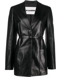 Jil Sander Belted Leather Jacket - Black