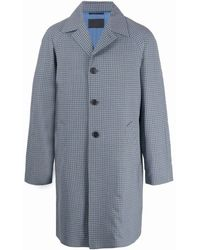 Prada Однобортное Пальто В Клетку - Синий
