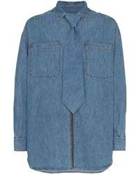 Diesel Red Tag Denim Zip-up Shirt With Detachable Tie - Blue