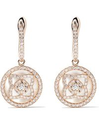 De Beers - 18kt Rose Gold Enchanted Lotus Mother-of-pearl And Diamond Sleeper Earrings - Lyst
