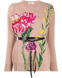 Valentino Джемпер С Цветочной Вышивкой - Розовый