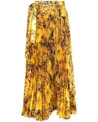 Richard Quinn Falda plisada con motivo floral - Amarillo