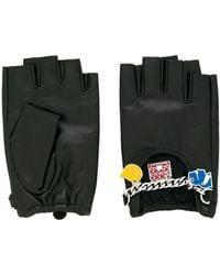 Karl Lagerfeld Enameled Charm Gloves - Black