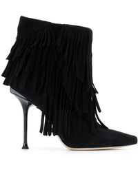 Sergio Rossi Fringed Ankle Boots - Black