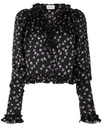 Magda Butrym Floral Print Ruffle Blouse - Black