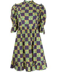 BATSHEVA チェッカー ドレス - パープル