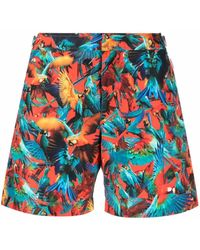 Orlebar Brown Bird-print Concealed Swim Shorts - Red