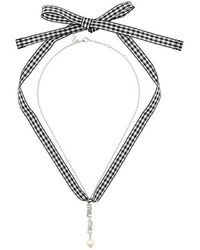 Miu Miu - Swarovski Crystal Logo And Pearl Necklace - Lyst