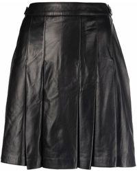 Arma Leather Pleated Mini Skirt - Black