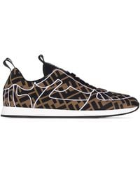 Fendi Ffreedom Leren Sneakers - Bruin