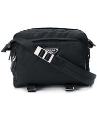 Prada Logo plaque crossbody bag - Negro
