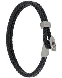 Northskull Geweven Streling Zilveren Schedel Kraal Armband - Zwart