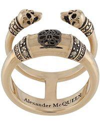 Alexander McQueen Двойное Кольцо Skull And Charm - Металлик